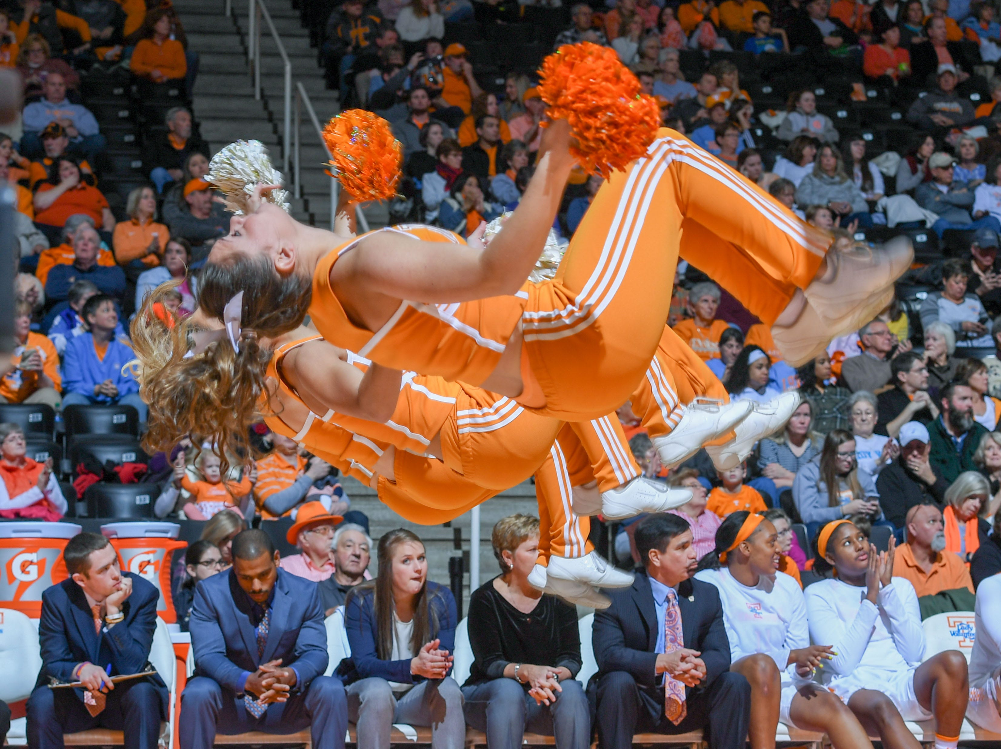 Jan 7, 2018; Knoxville, TN, USA; The Tennessee Lady Volunteers cheerleaders perform during the first half against the Vanderbilt Commodores at Thompson-Boling Arena.