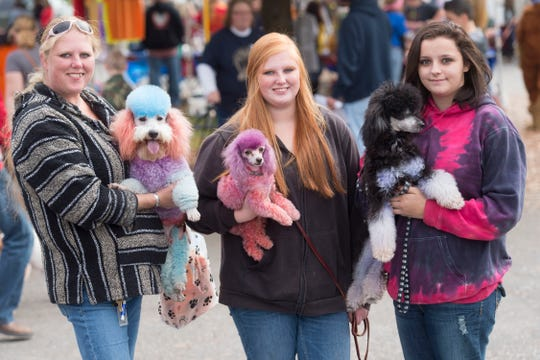 From left, Wendy Propst with Avery, Rachel Propst with Stanis, and Audrey Franklin with Drogos at Furry Fall Festival at Young-Williams Animal Shelter on Sunday, November 8, 2015.