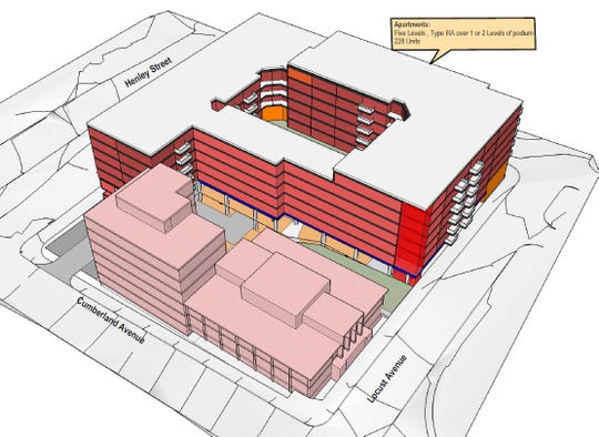 New renderings for the Supreme Court site downtown Knoxville keep the old court building (pink) intact.
