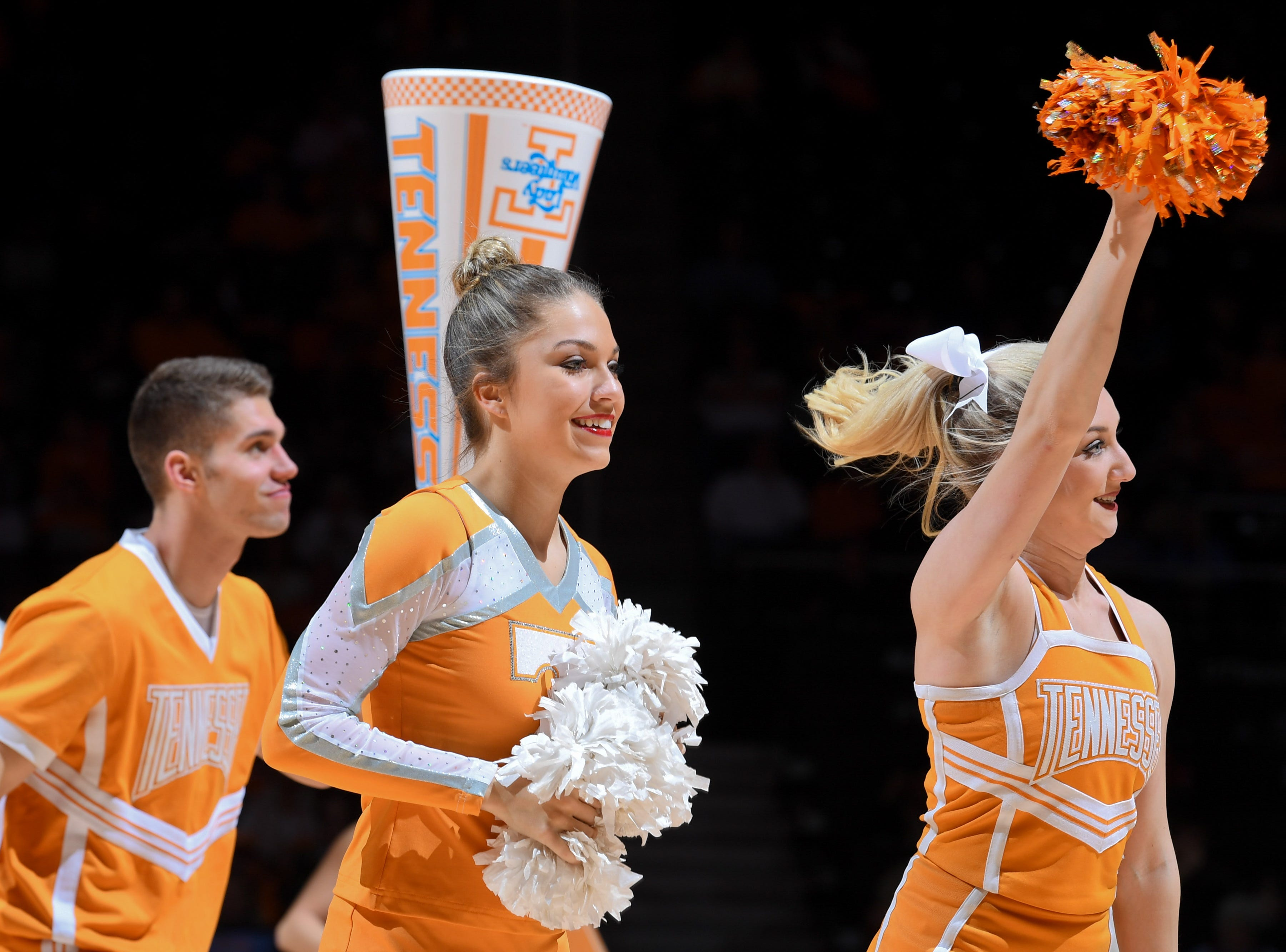 Jan 7, 2018; Knoxville, TN, USA; The Tennessee Lady Volunteers cheerleaders perform during the second half against the Vanderbilt Commodores at Thompson-Boling Arena. Tennessee won 86 to 73.