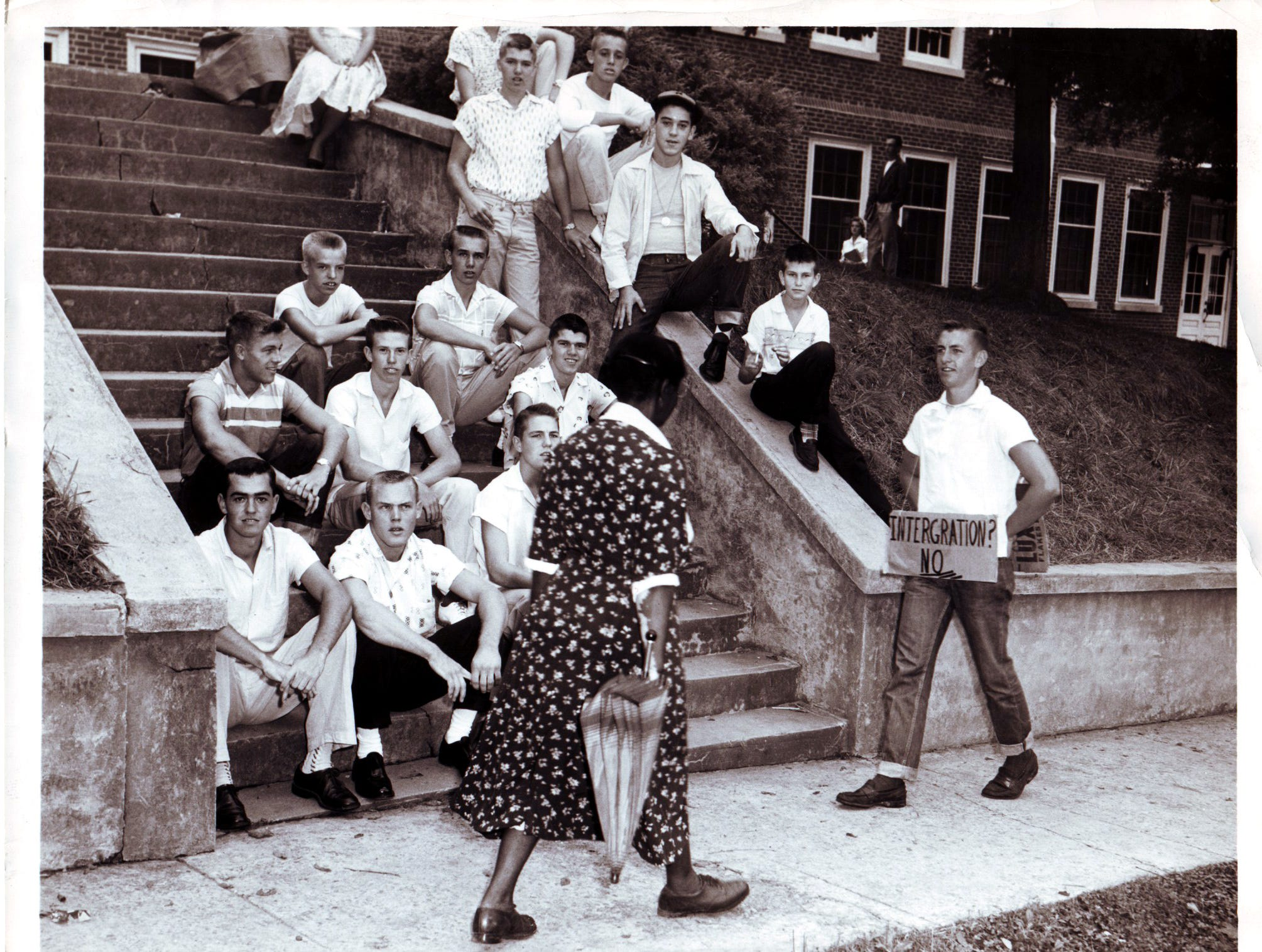 Outside Clinton High School during desegregation unrest.  9/01/1956.