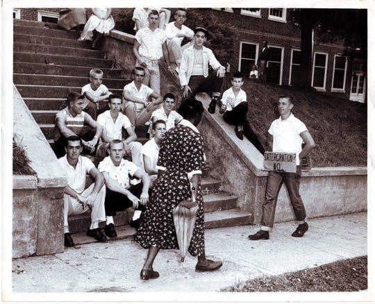 Outside Clinton High School during desegregation unrest.  9/01/1956.