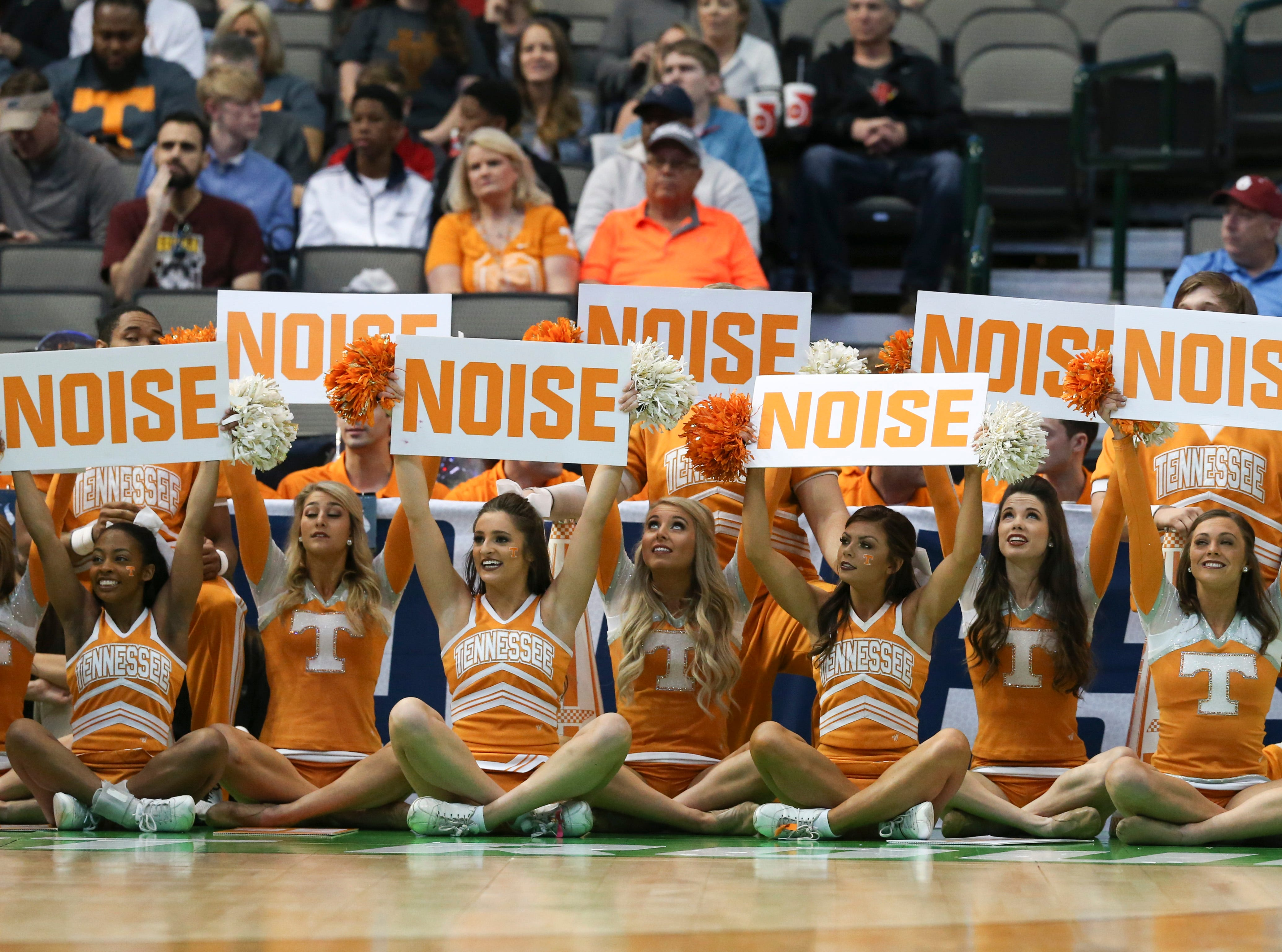 Mar 15, 2018; Dallas, TX, USA; Tennessee Volunteers cheerleaders during the first half against the Wright State Raiders in the first round of the 2018 NCAA Tournament at American Airlines Center.