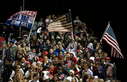 Lancaster High School fans celebrate during Thursday night's game, Oct. 25, 2018, at Fulton Field in Lancaster.
