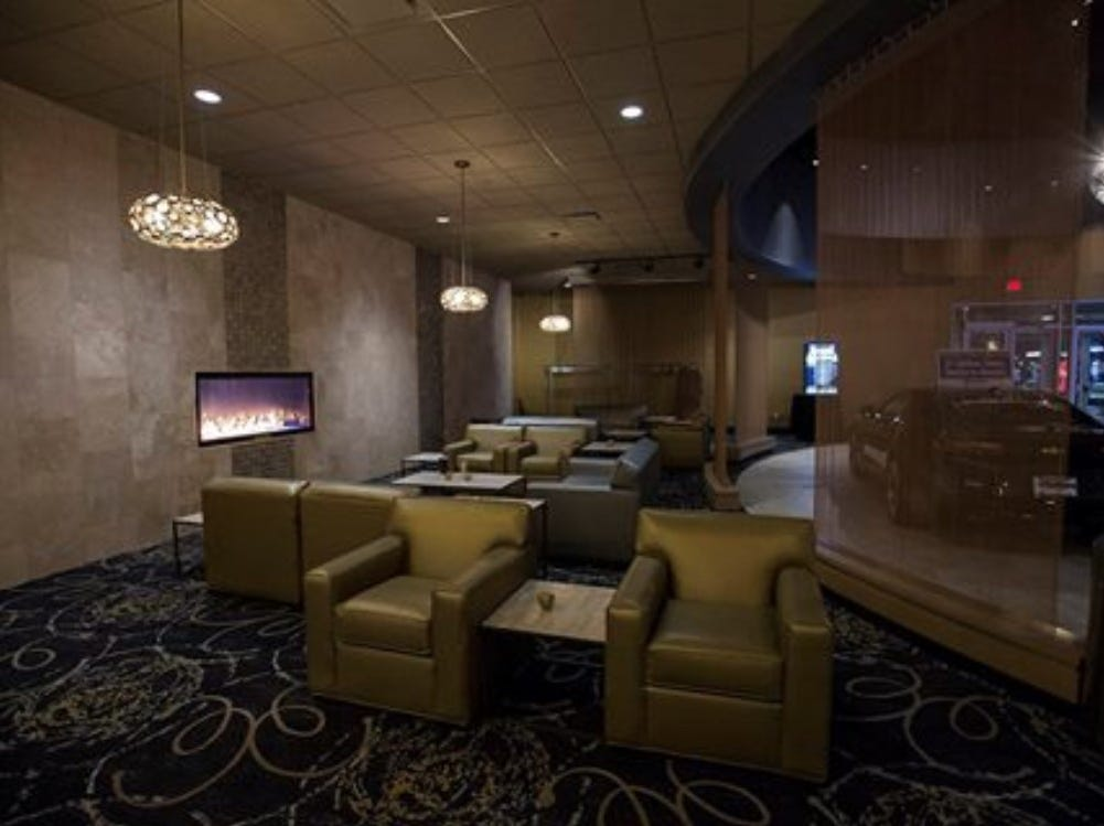 The lobby of Emagine Entertainment's movie theater in Frankfort, Ill. resembles what a soon-to-open theater in Hartland Township will look like.