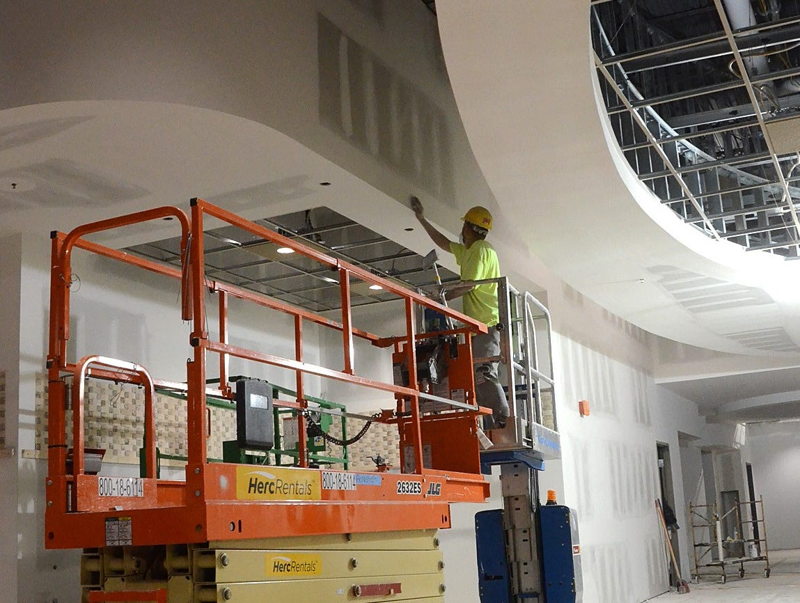 A concession area in the soon-to-be open Emagine Hartland movie theater was under construction, Friday, Oct. 26, 2018.