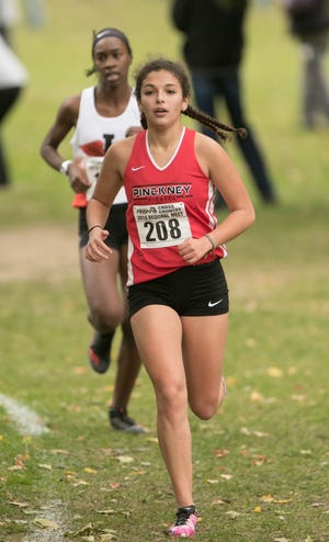 Pinckney's Mia Garcia placed ninth in the regional cross country meet on Friday, Oct. 26, 2018.