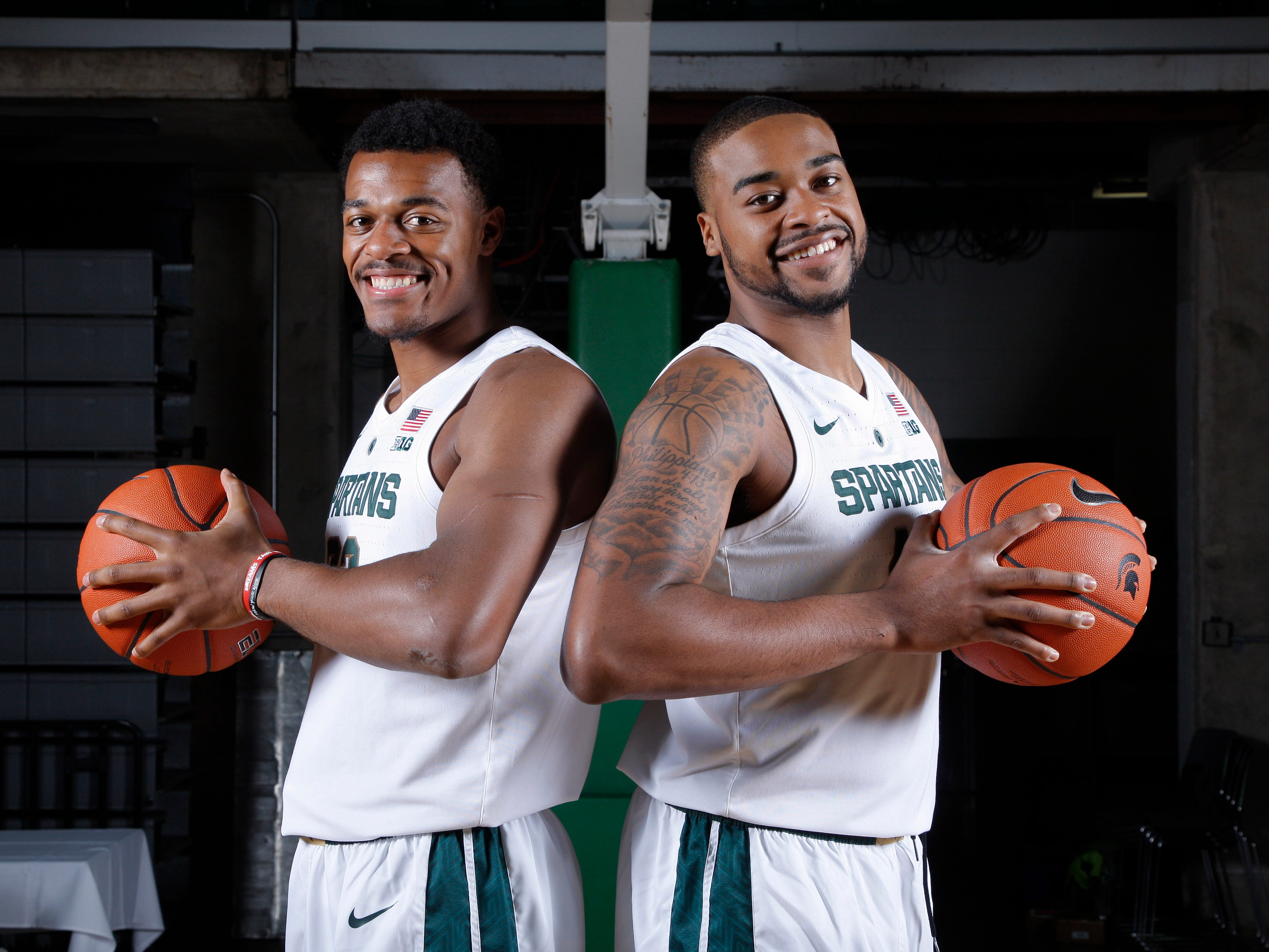 Michigan State's Xavier Tillman, left, and Nick Ward are shown during the team's media day, Thursday, Oct. 25, 2018, in East Lansing, Mich.