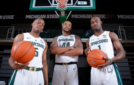 Juniors Cassius Winston, left, Nick Ward, center, and Joshua Langford are being counted on to lead Michigan State's basketball team this season.