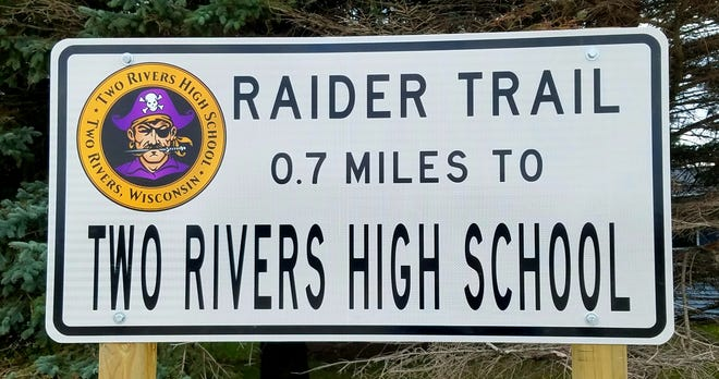A sign for the new Raider Trail in Two Rivers.