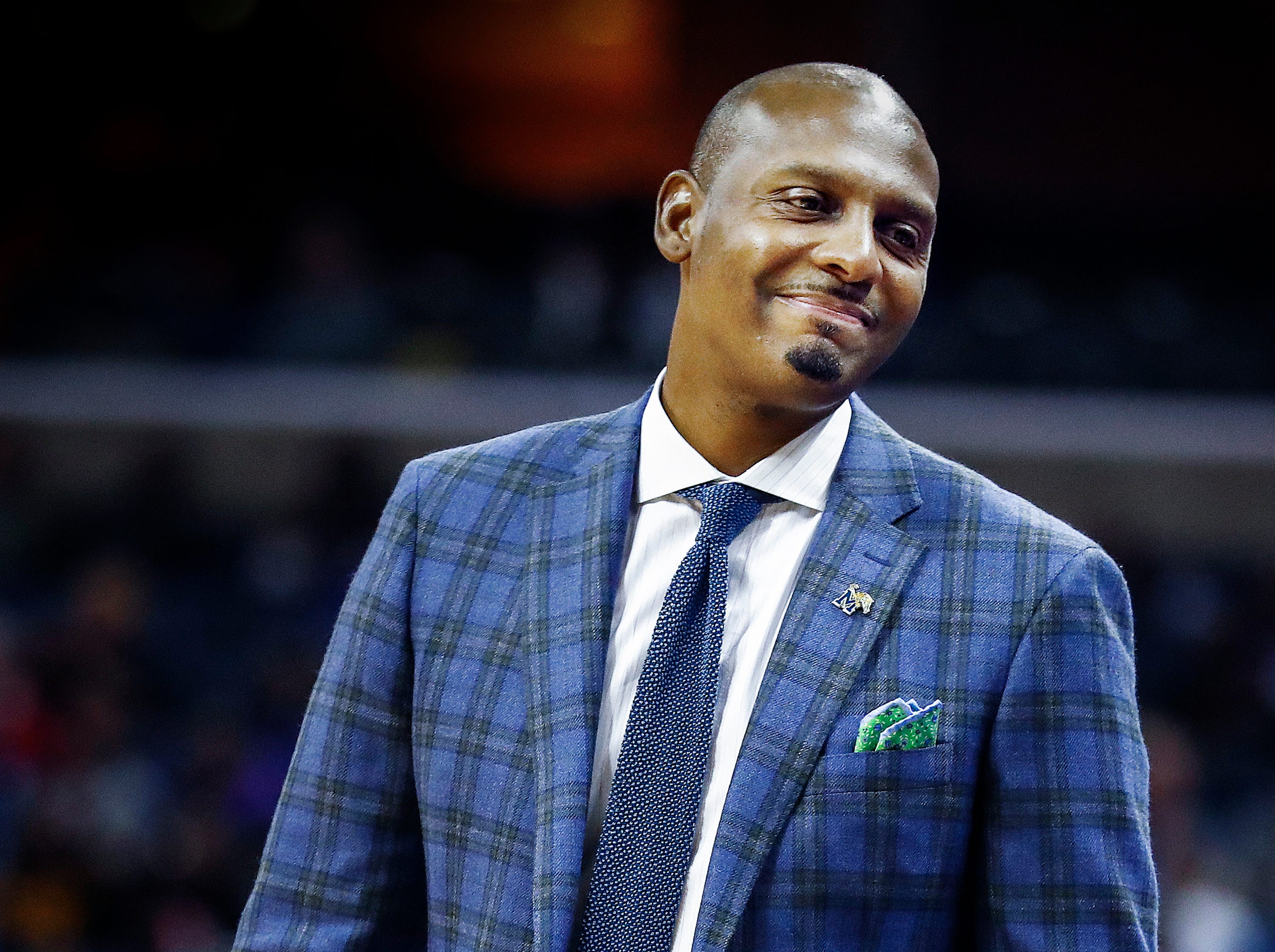 Memphis new head coach Penny Hardaway during acton against LeMoyne-Owen in their exhibition game at the FedExForum.