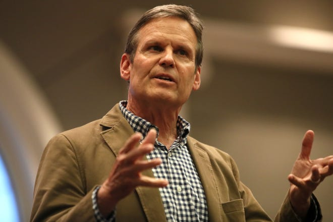 Gubernatorial candidate Bill Lee speaks to a few dozen people during a campaign tour stop at the Collierville Town Hall on Friday, Dec. 26, 2018.
