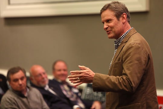 Bill Lee speaks to a few dozen people during at Collierville Town Hall on Dec. 26. Lee will be inaugurated as Tennessee's new governor on Saturday.