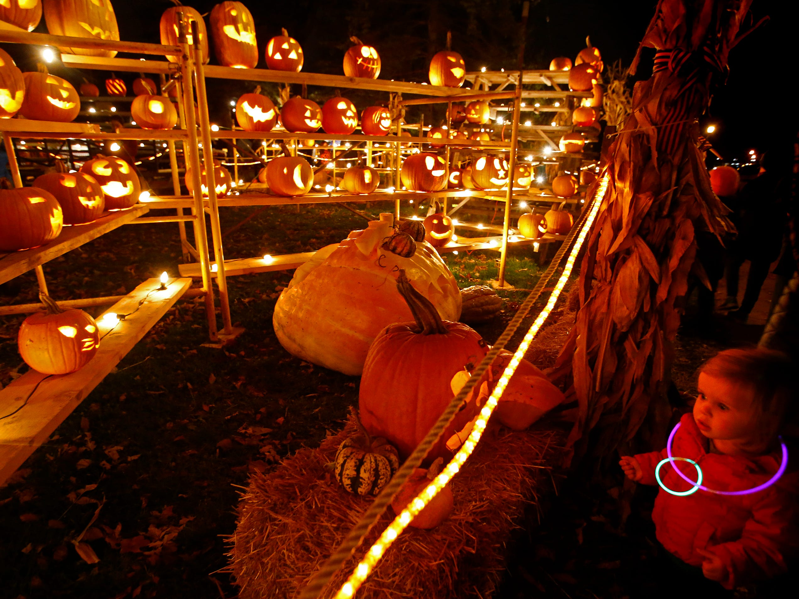 Maggie Ingram of Whitefish Bay views the hundreds of creations at the 32nd annual Whitefish Bay Great Pumpkin Festival at Old Schoolhouse Park, hosted by the Whitefish Bay Civic Foundation, on Oct. 25. The festival runs from 6 to 9 p.m. Wednesday, Oct. 24, through Sunday, Oct. 28.