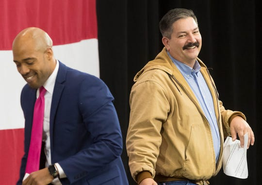 First District congressional candidate Randy Bryce (right) shares a smile with lieutenant governor candidate Mandela Barnes.