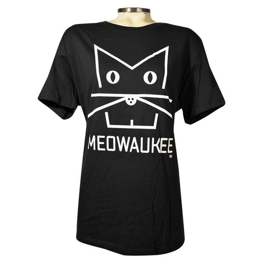 Frank Keppler came up with the design for this Meowaukee T-shirt using the letters MKE. He and his brother have been making Milwaukee- and Wisconsin-themed apparel for Brew City Brand Apparel since 1986.