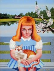 Drossos P. Skyllas (American, 1912-1973). Young Girl with a Cat, ca. 1955. Oil on canvas. The Michael and Julie Hall Collection of American Folk Art