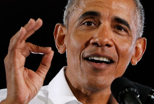 Former President Barack Obama speaking last week at a Democratic rally in Las Vegas.