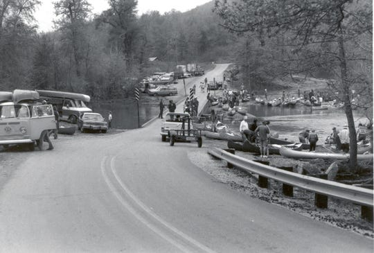 Ponca low-water bridge during the late 1970s.