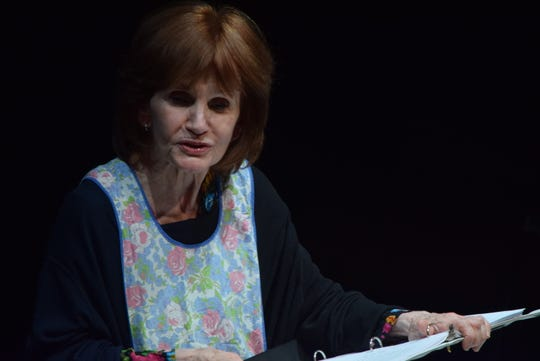 """Miriam (played by Colleen Smith Wallnau, shown here at a staged reading this past spring) makes an apple pie for a reason she gradually shares with the audience in """"Apples in Winter.""""  The award-winning one-woman play by Jennifer Fawcett will be presented at Centenary Stage Co. from November 8 through 18."""