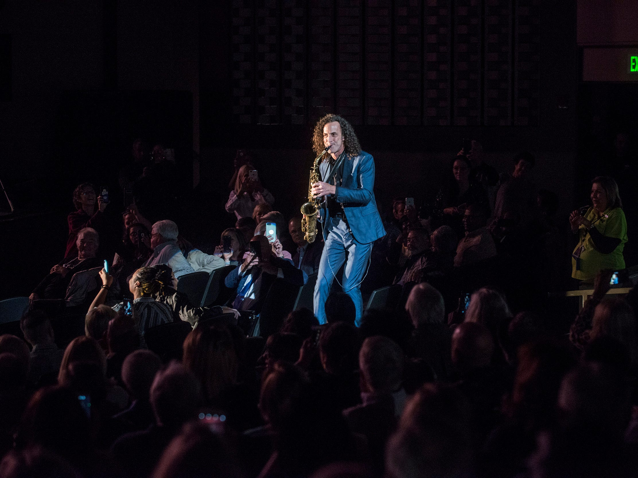 Kenny G performs in the middle of the audience Thursday, Oct. 25, 2018, at the Montgomery Performing Arts Centre.