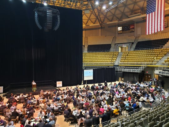 Hundreds gather in the Dunn-Oliver Acadome on Thursday to discuss the city's 20-year plan