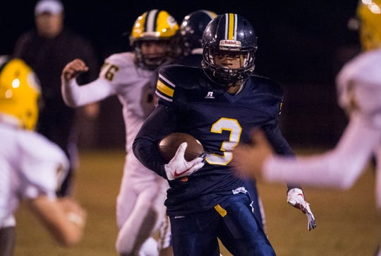 Success Unlimited's Jamari Smith (3) runs the ball down field against Edgewood at True Divine Baptist Church in Montgomery, Ala., on Thursday, Oct. 25, 2018. Edgewood leads Success Unlimited 21-14 at halftime.