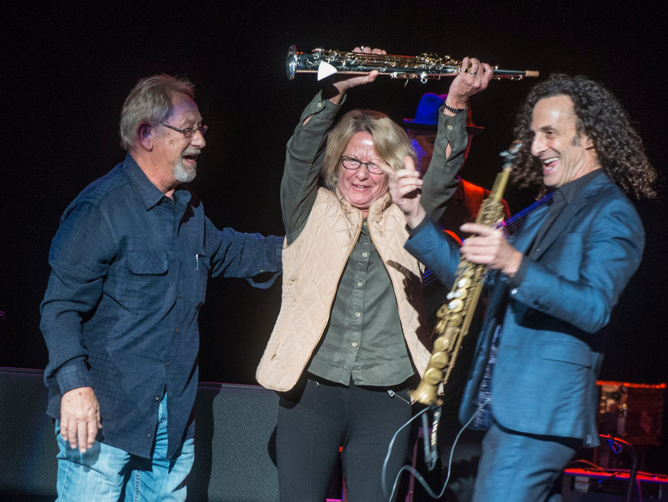 Margot Walbert and her husband Frankie Edwards of Cullman County won a raffle for a saxophone from Kenny G on Thursday, Oct. 25, 2018, at the Montgomery Performing Arts Centre.