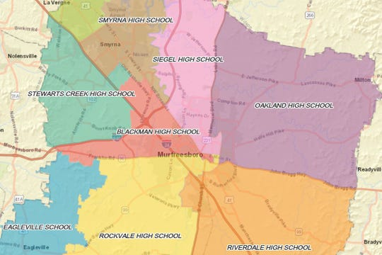 A portion of the proposed Rockvale High zone is shown in yellow. Seven other high schools are expected to be affected by the plan.