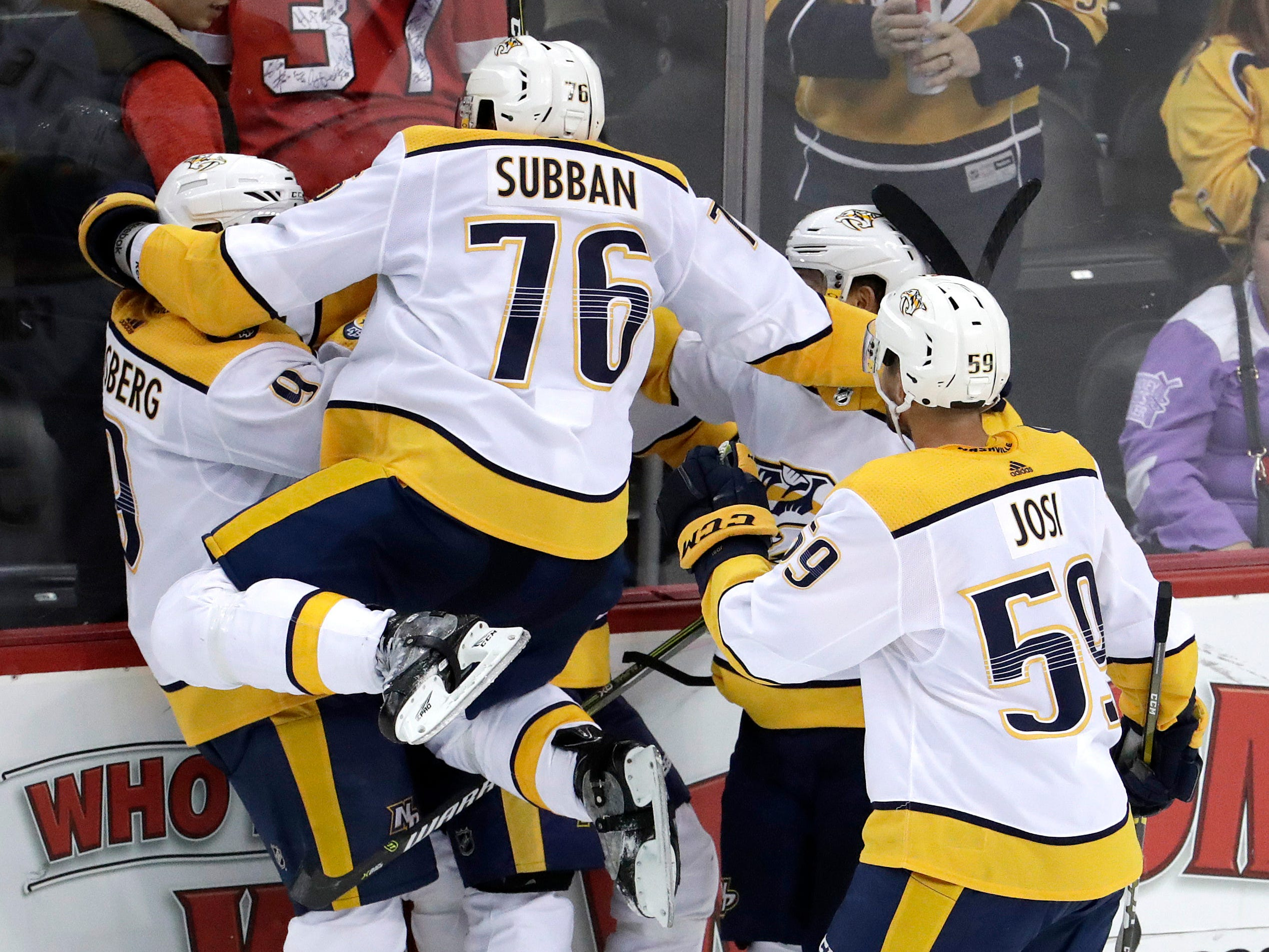 Oct. 25: Predators, 4, Devils 3 (OT) -- Nashville Predators defenseman P.K. Subban (76) jumps on teammates after Kyle Turris scored the winning goal during overtime of an NHL hockey game against the New Jersey Devils, Thursday, Oct. 25, 2018, in Newark, N.J.