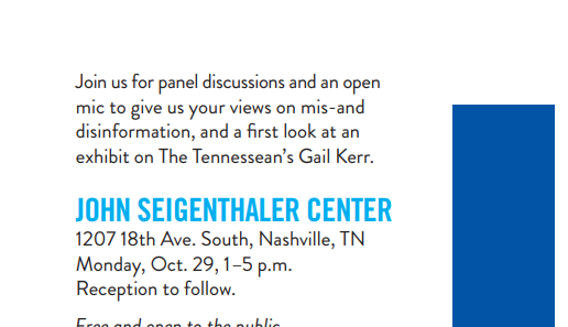 Free speech, free press event slated for Monday at John Seigenthaler Center