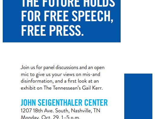 Free speech, free press event slatedfor Monday at John Seigenthaler Center