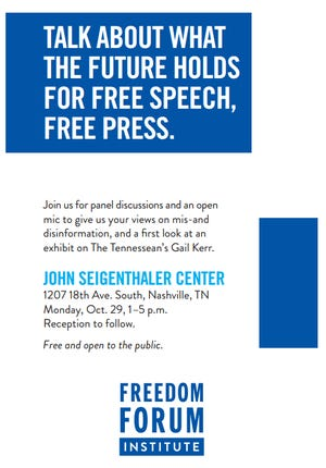 A free speech and free press event is set for Monday at the John Seigenthaler Center.