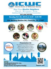 The Islamic Center of Williamson County is hosting a Meet Your Muslim Neighbor event.