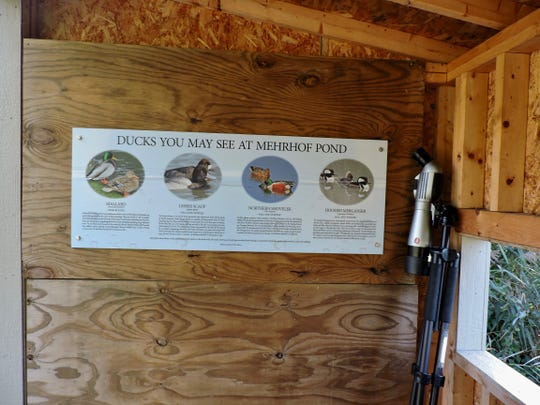 The blind features informative signs about the birds you might see.