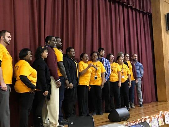 Minds in Motion program teachers during a School 12 event Thursday.