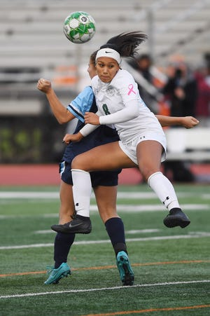 Wayne Valley vs. DePaul in the Passaic County soccer finals at Clifton Stadium on Friday, October 26, 2018. DP #8 Jazlyn Oviedo in the first half.