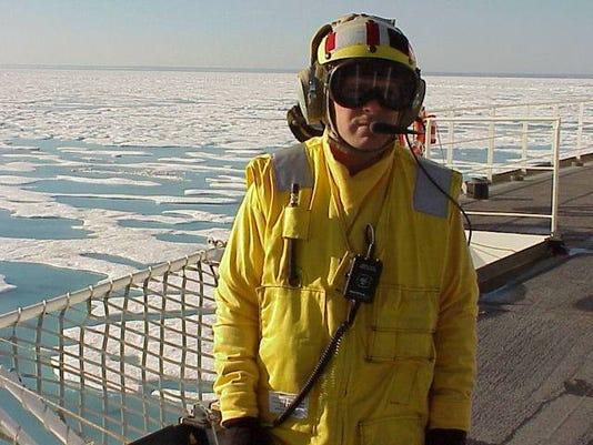 Adrian Landing Signals Officer On Flight Deck Uscgc Healy