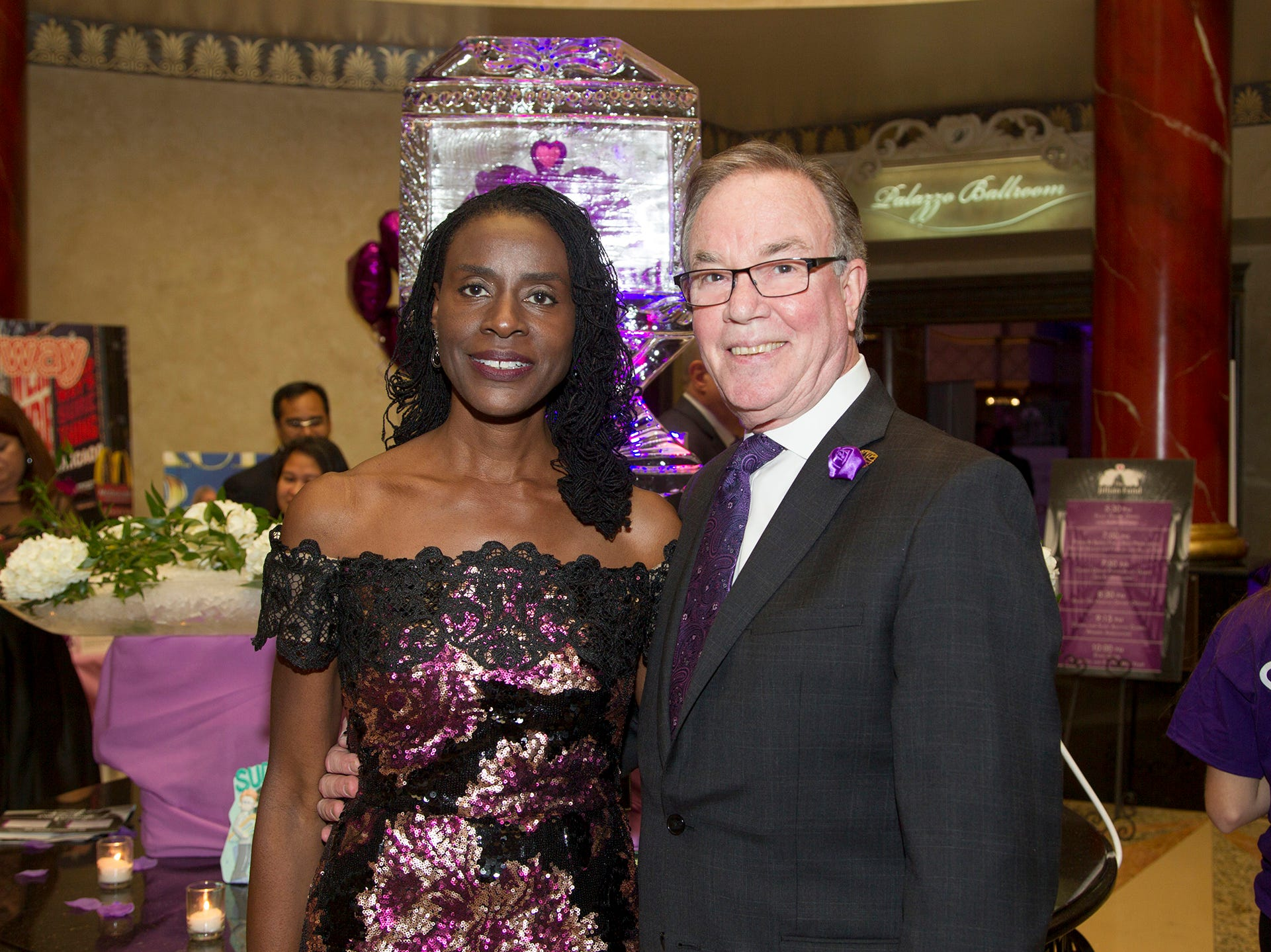 "Marcia Awobuluyi and George Gorman.The Jillian Fund held its ""Taste of Italy"" at The Venetian in Garfield. The evening featured casino games, wine tasting, and a silent auction. 10/24/2018"
