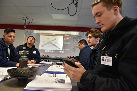 Students work in class at Universal Technical Institute in Bloomfield, NJ.