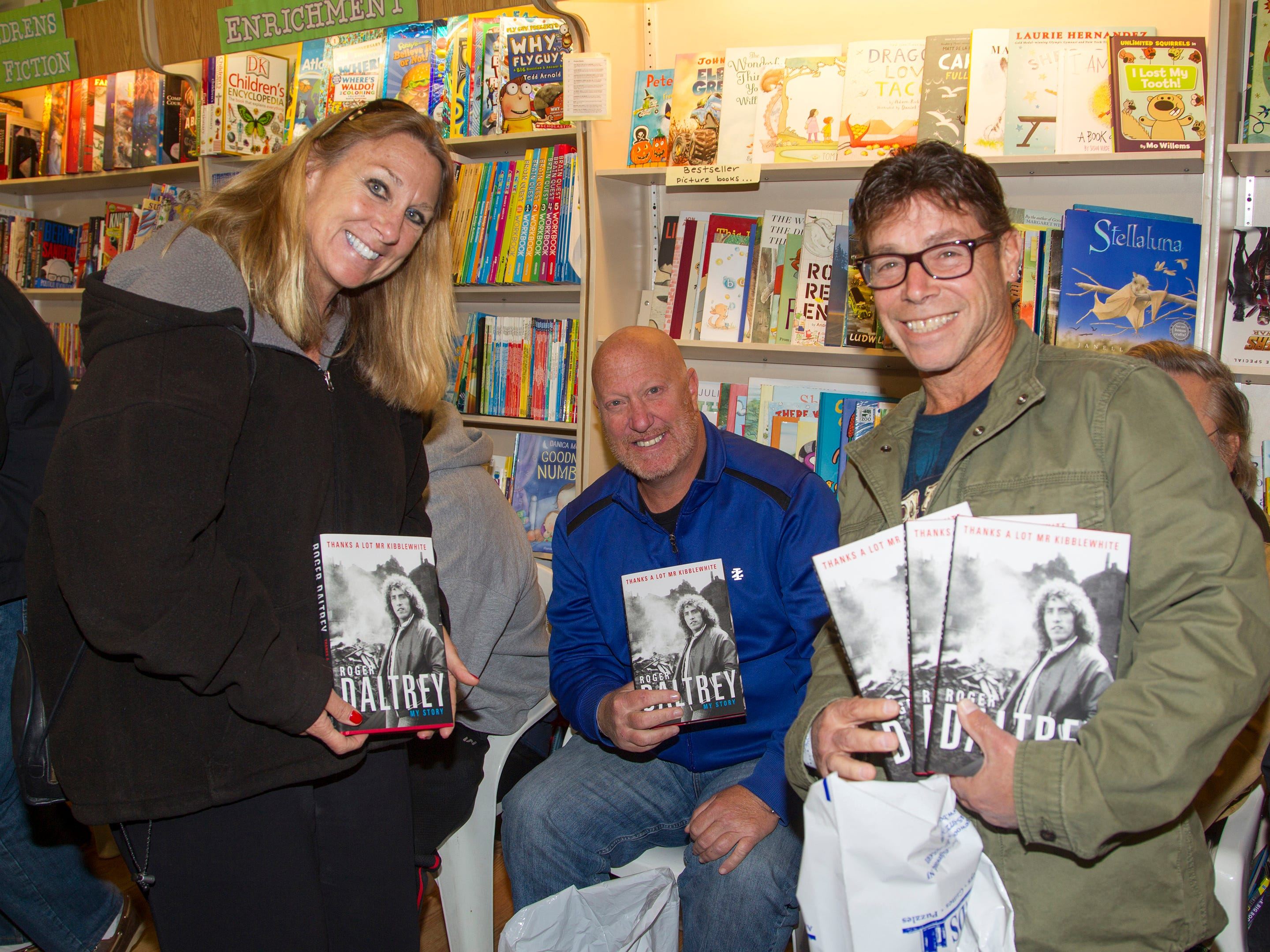 "Maria Soranno, Jeff Erdman, Gary Frankin. Roger Daltrey, founding member of the band THE WHO, signed copies of his book ""Roger Daltrey: My Story"" at Bookends in Ridgewood. 10/25/2018"