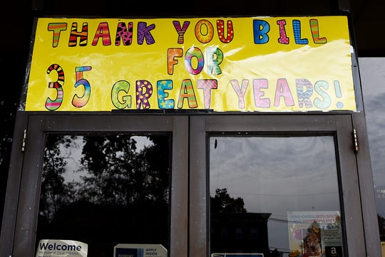 A banner of the exterior of the Oradell Post Office celebrates Bill Kaufman's retirement after 35 years. Shown in Oradell on Friday October 26, 2018.