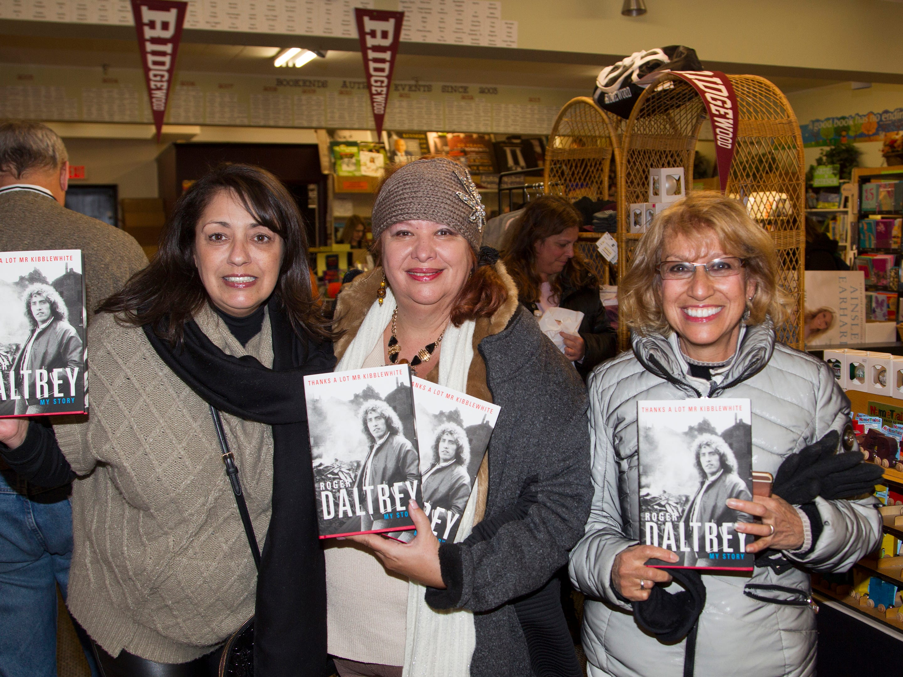 "Gina Barnfather, Jan Greiner, Pat Horan. Roger Daltrey, founding member of the band THE WHO, signed copies of his book ""Roger Daltrey: My Story"" at Bookends in Ridgewood. 10/25/2018"