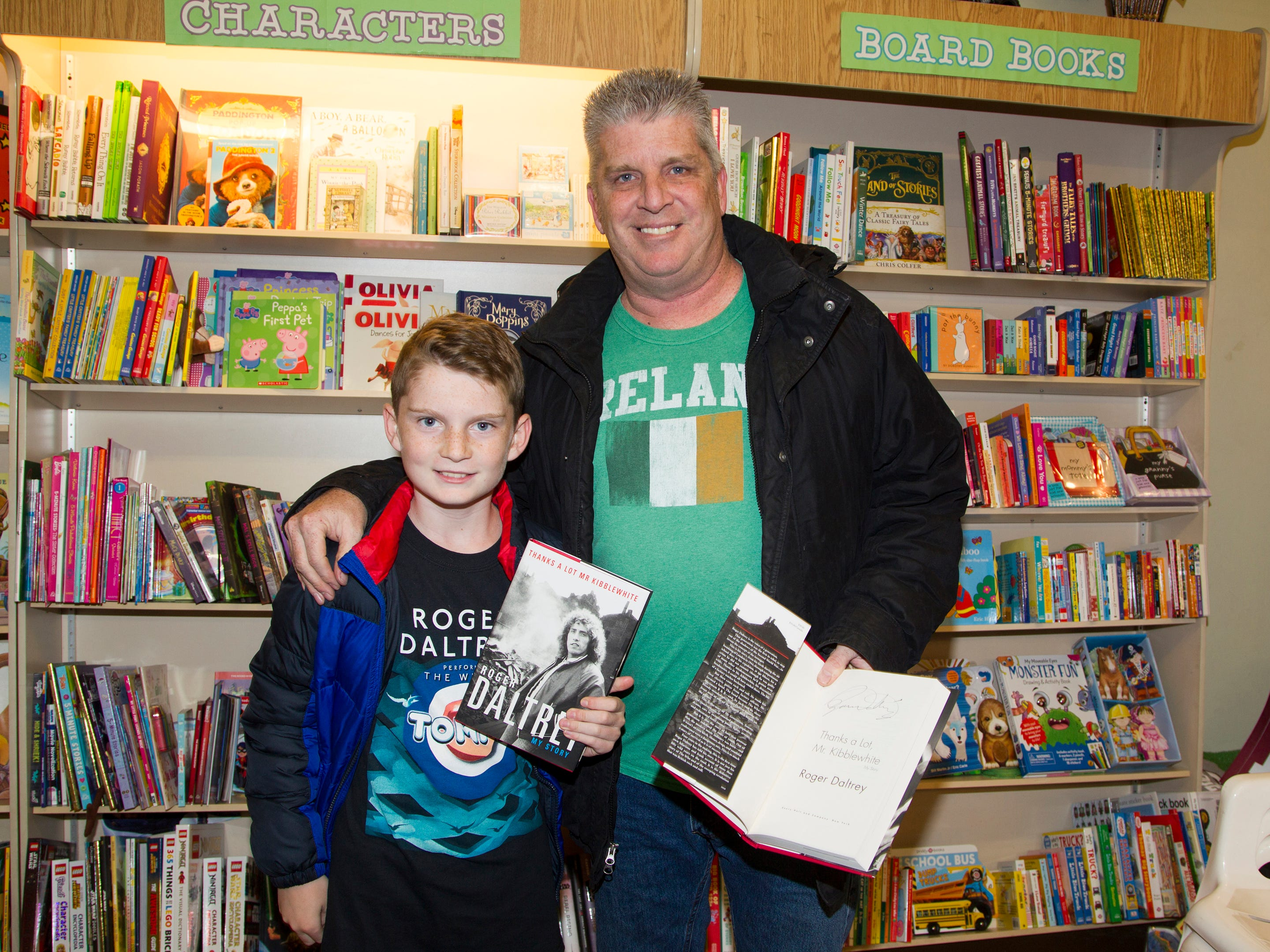 "Brian and Sean Raftery. Roger Daltrey, founding member of the band THE WHO, signed copies of his book ""Roger Daltrey: My Story"" at Bookends in Ridgewood. 10/25/2018"