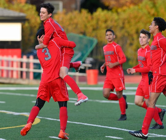 Cliffside Park players celebrate a goal in the game against Mahwah in Cliffside Park.