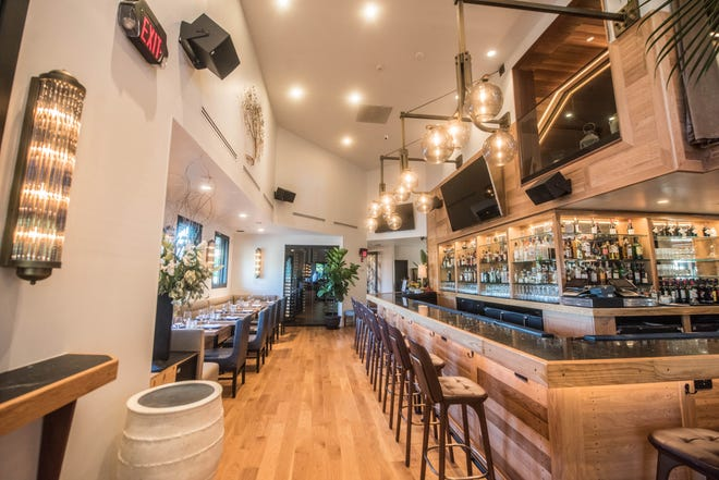 The bar at Lefkes, the new modern Greek restaurant in Englewood Cliffs