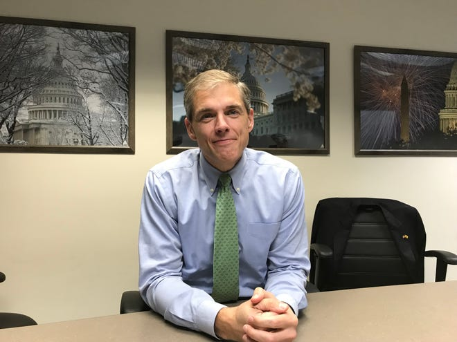 Assemblyman Jay Webber, R-Morris, discusses his campaign for Congress in North Jersey's 11th District on Oct. 25, 2018.