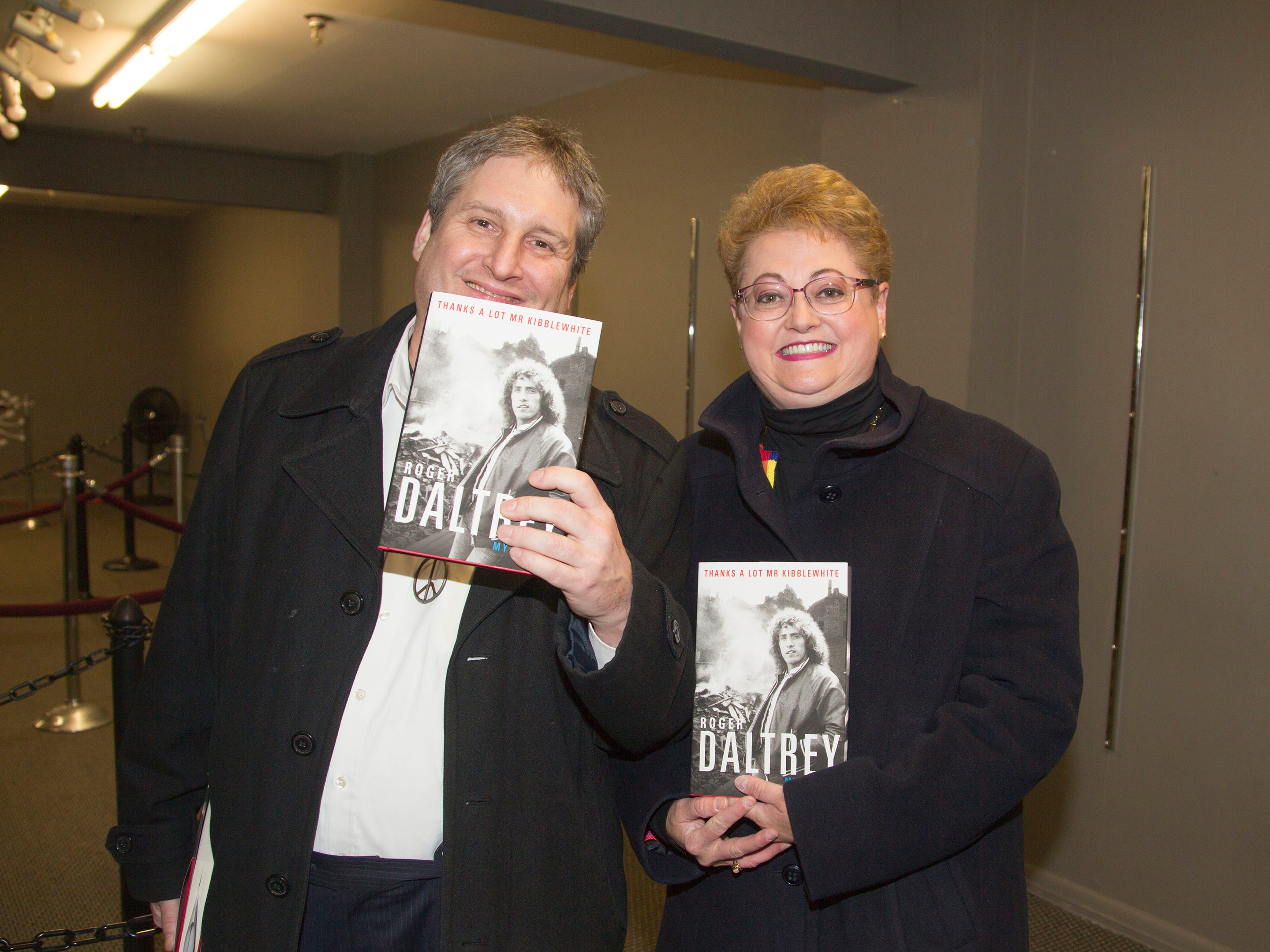 "Jack Lokensky, Janice Pliszczak. Roger Daltrey, founding member of the band THE WHO, signed copies of his book ""Roger Daltrey: My Story"" at Bookends in Ridgewood. 10/25/2018"