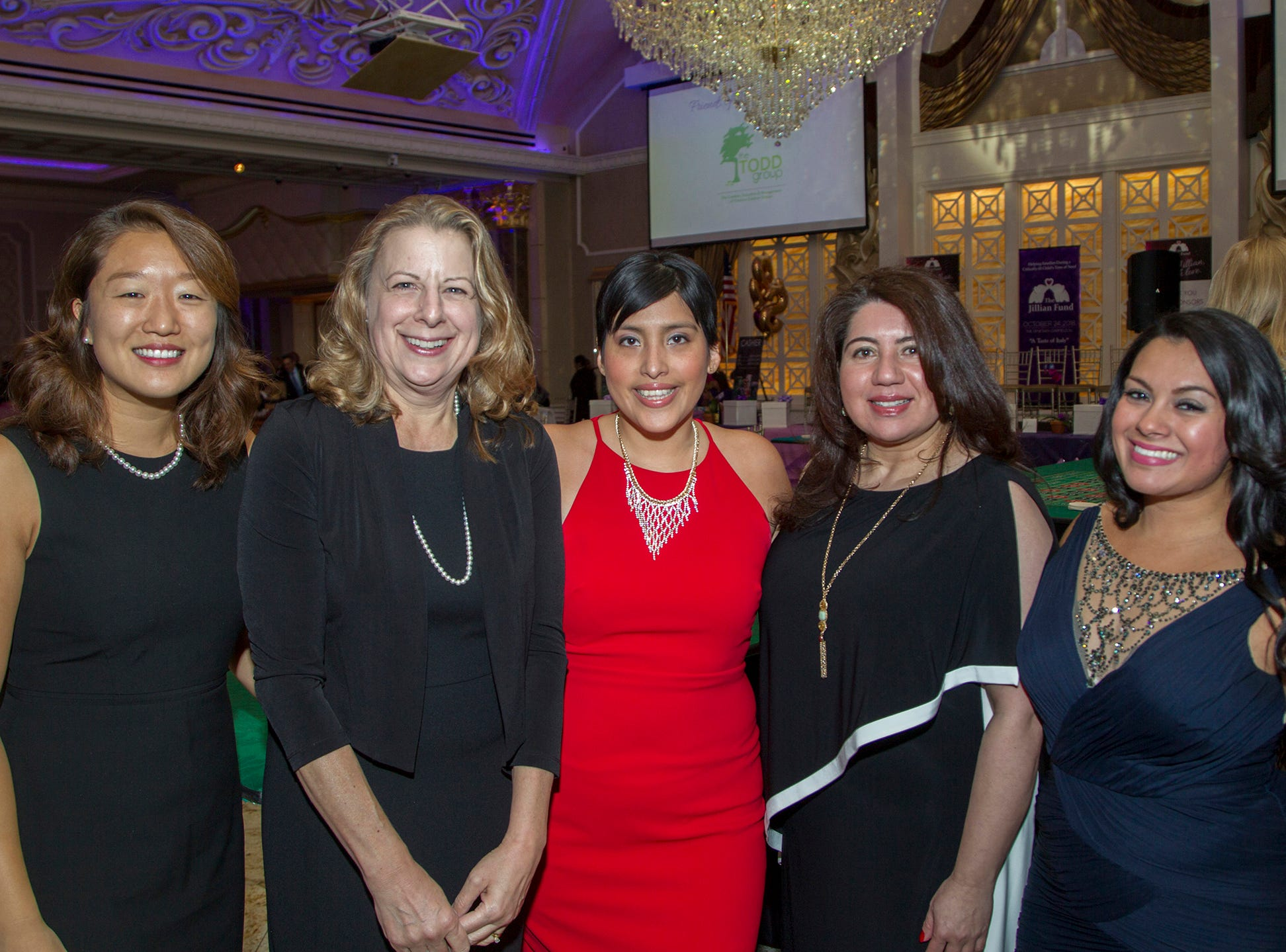 "Youngjae Lee, Jane Watson,Diana Gill,  Adriana Alosta, Diana Vasquez. The Jillian Fund held its ""Taste of Italy"" at The Venetian in Garfield. The evening featured casino games, wine tasting, and a silent auction. 10/24/2018"