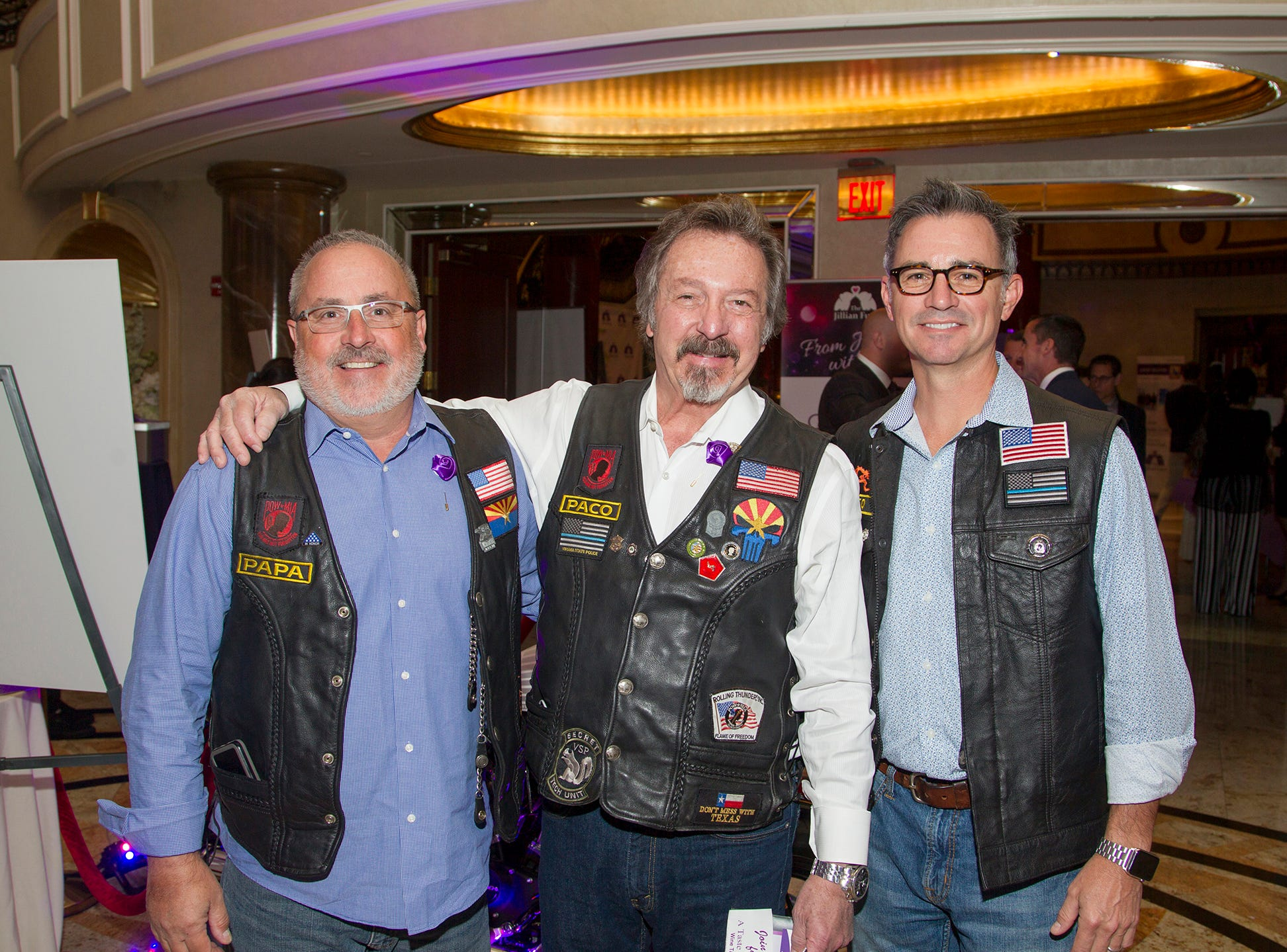 "Patriot Pack. John Brostrom, Mike Stramaglio, David Clearman. The Jillian Fund held its ""Taste of Italy"" at The Venetian in Garfield. The evening featured casino games, wine tasting, and a silent auction. 10/24/2018"